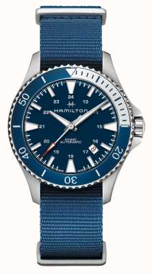 Hamilton | kaki navy scuba automatisch | blauwe stoffen riem | blauwe wijzerplaat H82345941