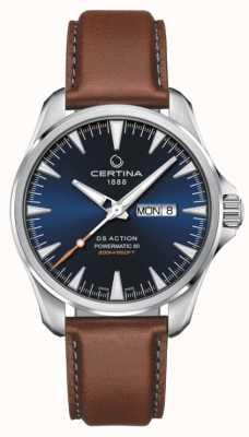 Certina | ds actie day-date powermatic 80 | blauwe wijzerplaat | bruine riem C0324301604100