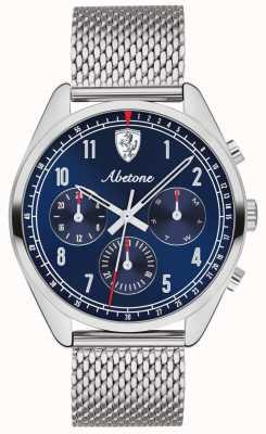 Scuderia Ferrari | mens abetone | blauwe wijzerplaat | zilveren mesh armband | 0830572