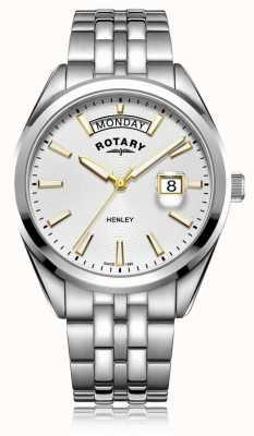 Rotary | mens henley | witte wijzerplaat | zilveren roestvrijstalen armband GB05290/70