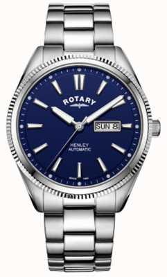 Rotary | mens henley | getande omlijsting blauwe wijzerplaat | roestvrij staal GB05380/05