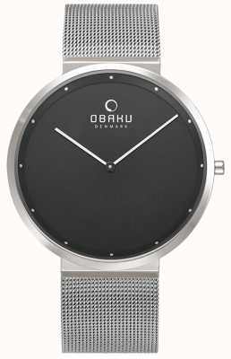 Obaku | mens papir onyx | zilveren mesh armband | zwarte wijzerplaat | V230GXCBMC