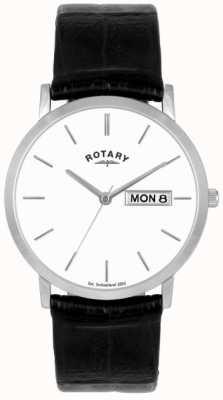 Rotary Heren zwart lederen band horloge GSI02622/06/DD