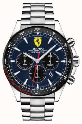 Scuderia Ferrari | pilatus voor mannen | roestvrijstalen armband | blauwe wijzerplaat | 0830598