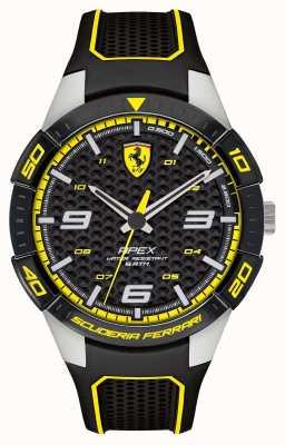 Scuderia Ferrari | heren top | zwarte rubberen riem | zwart / gele wijzerplaat | 0830631