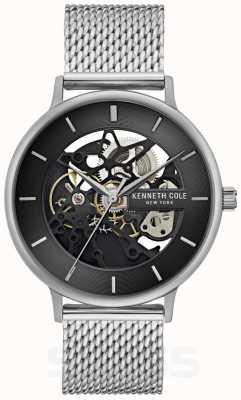 Kenneth Cole | automatische heren | stalen mesh armband | zwarte wijzerplaat | KC50780005