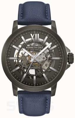 Kenneth Cole | heren automatisch | blauw leer | pistool metalen wijzerplaat | KC50779002
