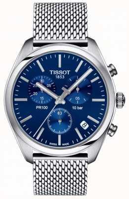 Tissot | heren pr100 chronograaf | mesh armband | blauwe wijzerplaat | T1014171104100