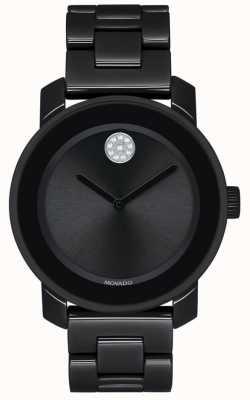 Movado | vetgedrukt | zwarte pvd vergulde armband | zwarte wijzerplaat | 3600535