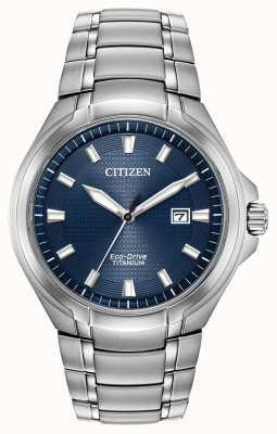Citizen Heren titanium eco-drive blauwe wijzerplaat waterbestendig 100m BM7431-51L