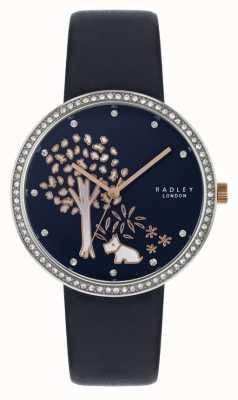 Radley | de navy lederen riem van vrouwen | crystal set bezel | boom wijzerplaat RY2783