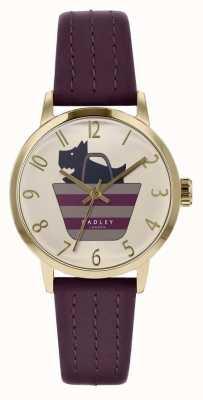 Radley | paars lederen band voor dames | bedrukte hond in tasdialoog | RY2796