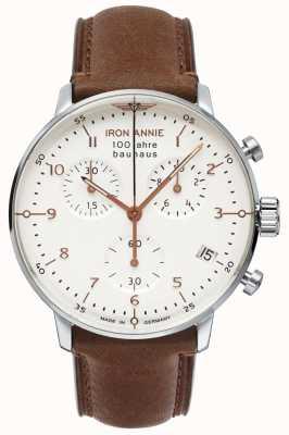 Iron Annie Bauhaus | chrono | witte wijzerplaat | bruin leer 5096-4