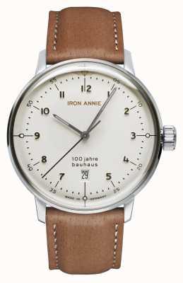 Iron Annie Bauhaus | witte wijzerplaat | bruine lederen band 5046-1