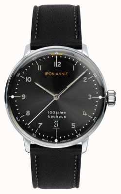Iron Annie Bauhaus | zwarte wijzerplaat | zwart lederen band 5046-2