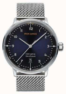 Junkers Iron annie | bauhaus | blauwe wijzerplaat | roestvrijstalen gaas 5046M-3