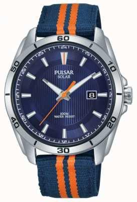 Pulsar | blauwe wijzerplaat voor heren | blauwe / oranje stoffen band | PX3175X1