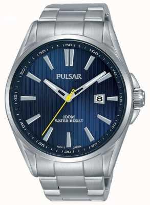 Pulsar | heren armband in edelstaal | blauwe wijzerplaat | PS9603X1
