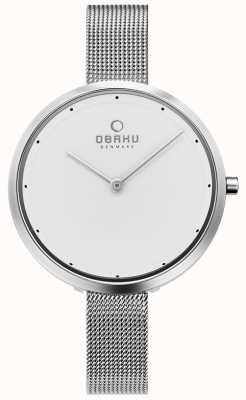 Obaku | dok dok dames | zilveren mesh armband | witte wijzerplaat | V227LXCIMC