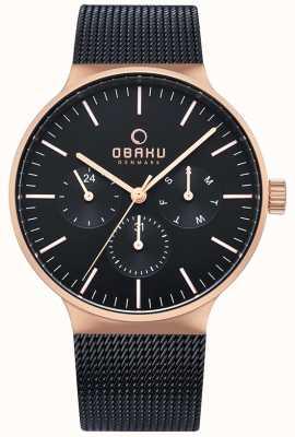 Obaku | mens mos nacht | zwarte gaasband | zwarte chronograaf wijzerplaat V229GMVBMB