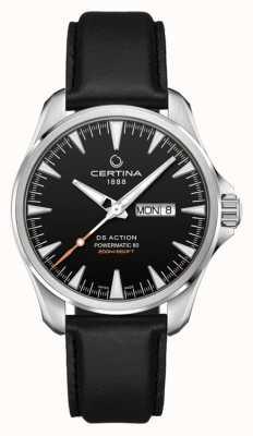 Certina | ds actie day-date powermatic 80 | zwarte leren riem | C0324301605100
