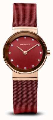 Bering Dames | klassiek | rode pvd stalen armband 10126-363