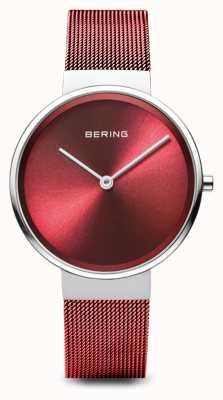 Bering Dames   klassiek   rode pvd vergulde stalen gaas armband 14531-303