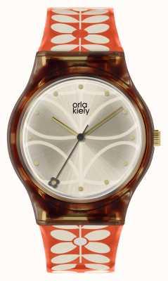 Orla Kiely | dames bobby horloge | zwart hoesje | 60's stam print riem | OK2316