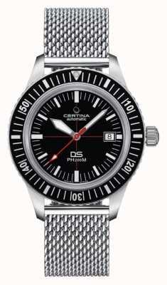 Certina | ds ph200m | roestvrij netwerk armband | zwarte wijzerplaat | C0364071105000