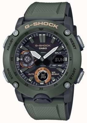 Casio | g-shock carbon kernbeschermer | groene rubberen band | GA-2000-3AER