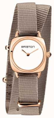 Briston | clubmaster dame | enkele taupe nato | rosé goud pvd hoesje | 19924.SPRG.M.2.NT - SINGLESTRAP