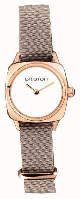 Briston | clubmaster dame | enkele taupe nato | rosé goud pvd hoesje | 19924.SPRG.M.2.NT - SINGLESTRAP