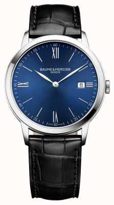 Baume & Mercier | heren classima | zwarte lederen band | blauwe wijzerplaat | M0A10324
