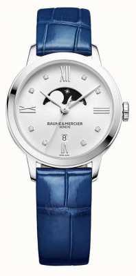 Baume & Mercier | Classima voor dames | blauw leer | zilveren maanfase wijzerplaat | M0A10329