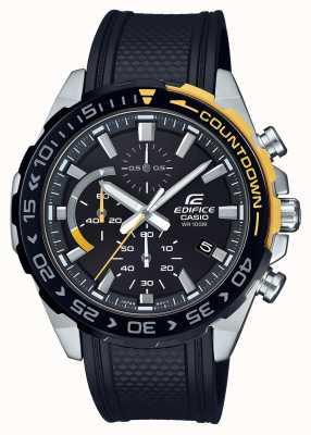 Casio | bouwklassieker | zwarte rubberen band | dag datum weergave | EFR-566PB-1AVUEF