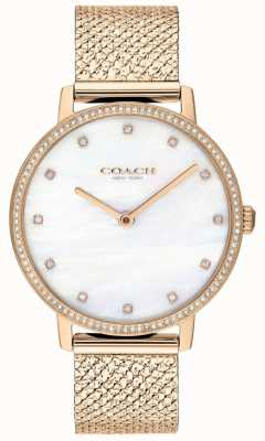 Coach | dames | audrey | rose goud pvd mesh | parel wijzerplaat | 14503360