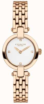 Coach | dames | chrystie | rosé gouden pvd armband | witte wijzerplaat | 14503392
