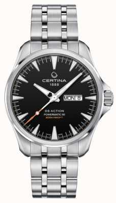 Certina | ds actie powermatic 80 | roestvrij staal | zwarte wijzerplaat | C0324301105100