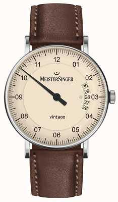 MeisterSinger | mens vintago | automatisch | bruin leer | crème wijzerplaat | | VT903