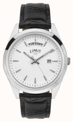 Limit | heren zwart leer | zilveren wijzerplaat | zilveren kast | 5749.01
