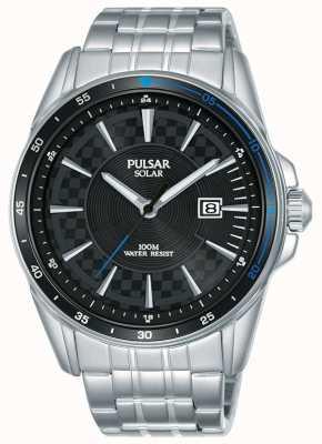 Pulsar | versnellingssporten roestvrijstalen armband | zwarte wijzerplaat PX3203X1