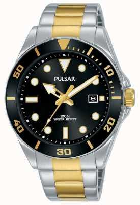 Pulsar | vrijetijdssport | roestvrij stalen armband | zwarte wijzerplaat | PG8295X1