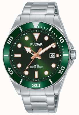 Pulsar | vrijetijdssport | roestvrijstalen armband | groene wijzerplaat | PG8301X1