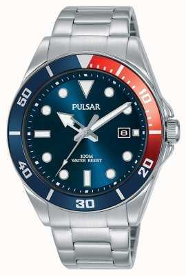 Pulsar | vrijetijdssport | roestvrijstalen armband | blauwe wijzerplaat | PG8291X1