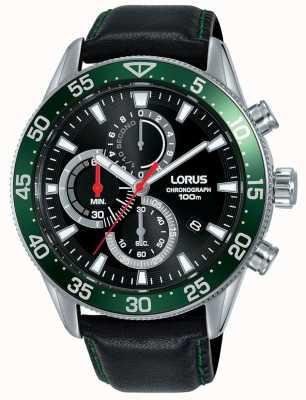 Lorus | heren chronograaf | groene rand zwarte leren riem | RM347FX9
