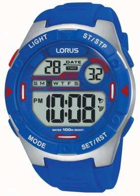 Lorus | heren sport digitaal | blauwe rubberen riem | R2301NX9