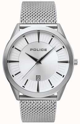 Police | mens patriot | roestvrijstalen mesh armband | zilveren wijzerplaat 15305JS/04MM