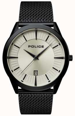 Police | heren patriot | zwarte mesh armband | beige wijzerplaat | 15305JSB/79MM
