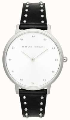 Rebecca Minkoff Dames major | zwart leren stud armband | zilveren wijzerplaat | 2200307