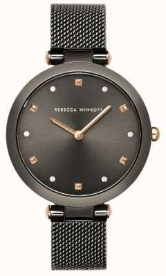 Rebecca Minkoff Womens nina | grijze mesh armband | grijze wijzerplaat | 2200302